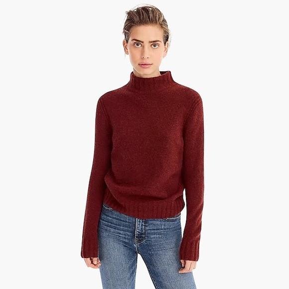 064ad5b94ea JCrew Mockneck Sweater in supersoft yarn- Mahogany